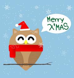Christmas owl cartoon vector