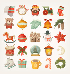 christmas stickers and icons vector image