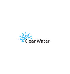clean water logo abstract blue drop icon smart vector image