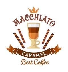 Coffee drinks menu design with caramel macchiato vector image vector image