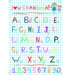 colorful baby sketch hand drawn doodle alphabet vector image