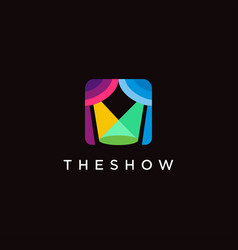 colorful minimalist lighting stage show logo vector image