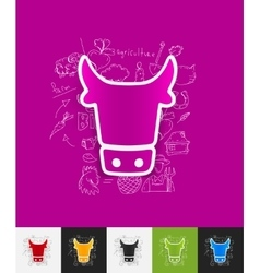 Cow paper sticker with hand drawn elements vector