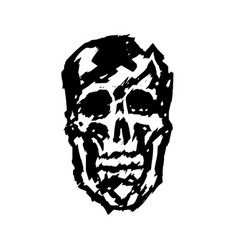 crashed human skull vector image