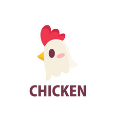 cute chicken rooster flat logo icon vector image