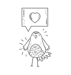 cute little bird with heart lovely character vector image