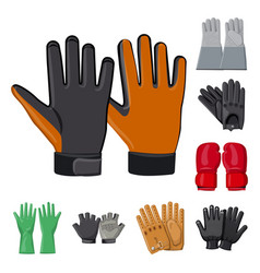 Design of glove and winter symbol set of vector