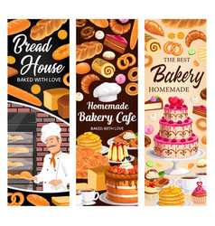 desserts cakes and bakery banners set vector image