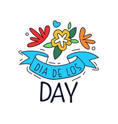 dia de los day logo mexican day dead vector image