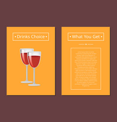 drinks choice what you get cover red wine glasses vector image