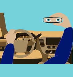 Driver in the car looks in the rear-view vector