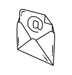 email icon doodle hand drawn or outline icon style vector image