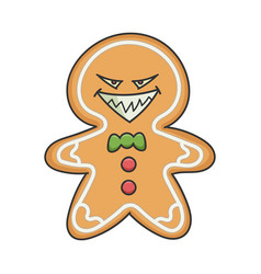 Evil grin christmas holiday ginger bread cookie vector