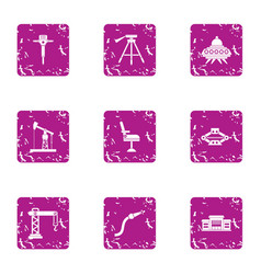 Extraction icons set grunge style vector
