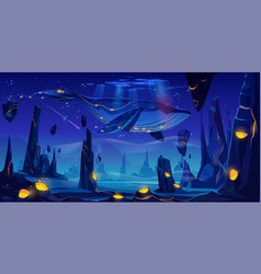 fantasy dream space fairy tale with huge whale vector image