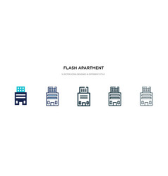 Flash apartment icon in different style two vector