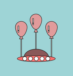 Flat icon design collection flying saucer and vector