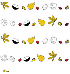 Geometric leaves and chestnut autumn doodle vector