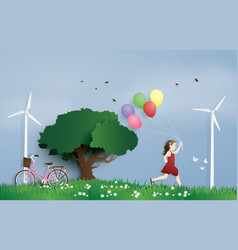 Girl running in the field with balloon paper art vector