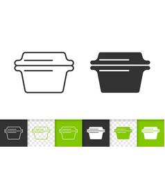 glass casserole simple black line icon vector image