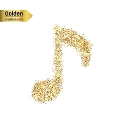 Gold glitter icon of musical key isolated vector