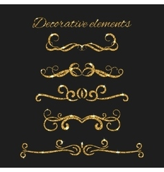Gold text dividers set Ornamental decorative vector