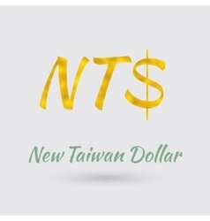 Golden New Taiwan Dollar Symbol vector