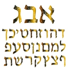 Golden shabby Hebrew font gold alphabet vector