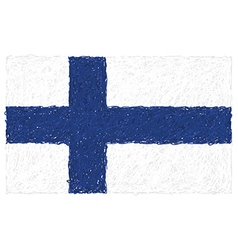 Hand drawn of flag of Finland vector