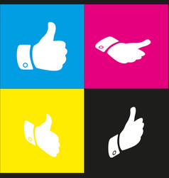 hand sign white icon with vector image