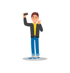 handsome guy taking selfie with his cell phone vector image