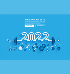 Happy 2022 new year fitness concept workout vector
