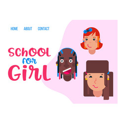 happy school girls faces different nationality vector image