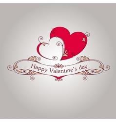 Happy valentine day vintage grey card vector image