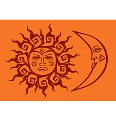 Icon of tribal sun and crescent moon vector