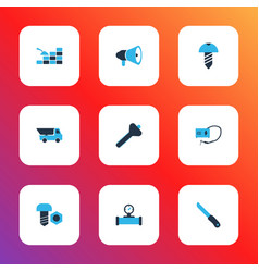 industry icons colored set with pipe with sensor vector image