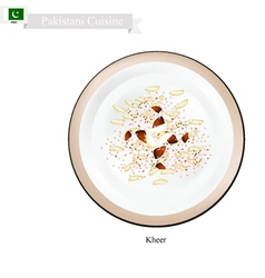 Kheer or Palestinian Rice Pudding with Nuts and Sp vector image