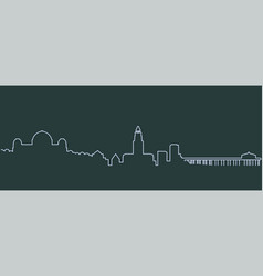 los angeles single line skyline vector image