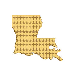 Louisiana state map fleur-de-lis retro vector