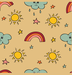 lovely seamless pattern with the hand-drawn sun vector image