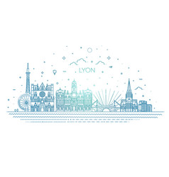 lyon skyline with panorama in white background vector image