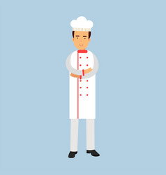 Male chef cook character in white uniform standing vector