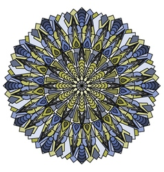 Mandala blue and yellow vector
