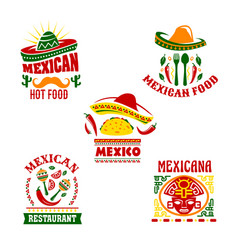 Mexican fast food restaurant emblem set design vector