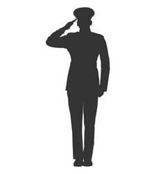 military or police salute silhouette vector image