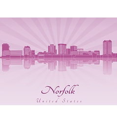 Norfolk skyline in purple radiant orchid vector