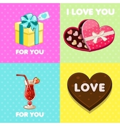 pack of nice valentine greeting cards vector image