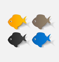 Paper clipped sticker fish vector