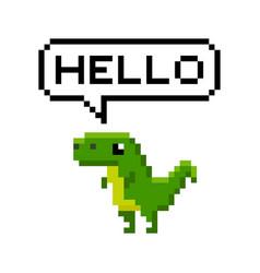 Pixelated cartoon dinosaur saying hello vector