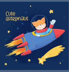 Postcard poster cute astronaut fox in space vector